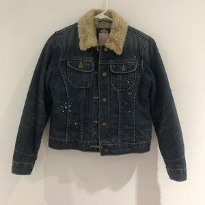 Vintage Sherpa fur jean jacket